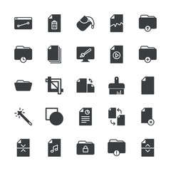 Modern Simple Set of folder, files, design Vector fill Icons. ..Contains such Icons as  vector, website,  video,  folder,  office, crop and more on white background. Fully Editable. Pixel Perfect.