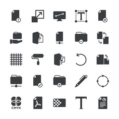 Modern Simple Set of folder, files, design Vector fill Icons. ..Contains such Icons as  white,  write,  delete,  brush,  web,  design, pen and more on white background. Fully Editable. Pixel Perfect.