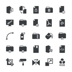 Modern Simple Set of folder, files, design Vector fill Icons. ..Contains such Icons as  color,  enlargement,  publish,  dirty,  game, file and more on white background. Fully Editable. Pixel Perfect.