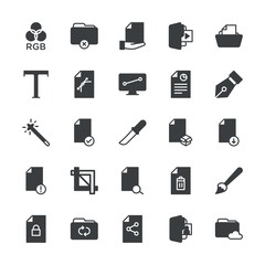 Modern Simple Set of folder, files, design Vector fill Icons. ..Contains such Icons as  background, document,  ink,  lock,  illustration and more on white background. Fully Editable. Pixel Perfect.
