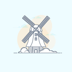 Vector illustration of traditional rural windmill in linear styl