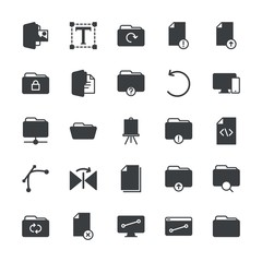 Modern Simple Set of folder, files, design Vector fill Icons. ..Contains such Icons as  graphic,  laptop,  open, technology,  upload, paper and more on white background. Fully Editable. Pixel Perfect.