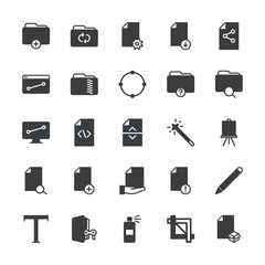 Modern Simple Set of folder, files, design Vector fill Icons. ..Contains such Icons as download,  dirty, anchor, error,  vector,  white and more on white background. Fully Editable. Pixel Perfect.