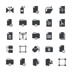 Modern Simple Set of folder, files, design Vector fill Icons. ..Contains such Icons as folder,  video,  graffiti, paint,  equipment,  sign and more on white background. Fully Editable. Pixel Perfect.