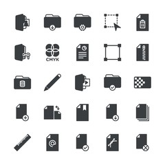 Modern Simple Set of folder, files, design Vector fill Icons. ..Contains such Icons as  design, cmyk,  tool,  storage, folder,  print,  art and more on white background. Fully Editable. Pixel Perfect.