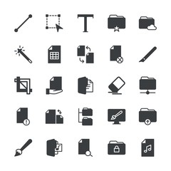 Modern Simple Set of folder, files, design Vector fill Icons. ..Contains such Icons as  internet,  work,  brush,  color,  graphic,  icon and more on white background. Fully Editable. Pixel Perfect.
