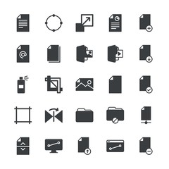 Modern Simple Set of folder, files, design Vector fill Icons. ..Contains such Icons as enlarge,  information,  internet,  web, file, office and more on white background. Fully Editable. Pixel Perfect.