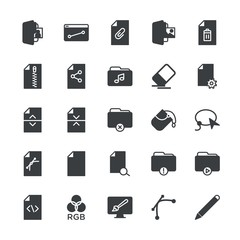 Modern Simple Set of folder, files, design Vector fill Icons. ..Contains such Icons as file, document, folder,  computer,  error,  paper and more on white background. Fully Editable. Pixel Perfect.