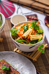 Salad with carrots and asparagus. Korean food
