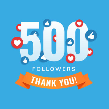 500 followers, social sites post, greeting card vector illustration