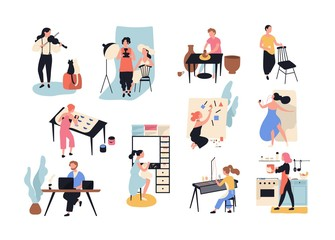 Collection of male and female art, handicraft and creative workers or professionals. Set of people of various occupation isolated on white background. Vector illustration in flat cartoon style. Wall mural