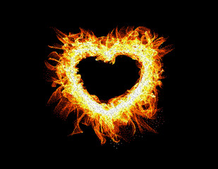 Fire frame on black background. Abstract heart.Vector illustration.