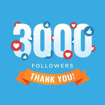 3000 followers, social sites post, greeting card vector illustration