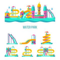 Water park. Hello summer. Vector clipart.