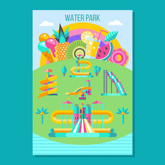 Water park. Hello summer. Vector clipart.