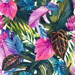 Photo sur Plexiglas Empreintes Graphiques Watercolor tropical leaves seamless pattern