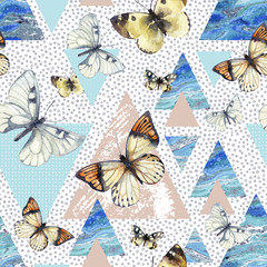 Fotobehang Vlinders in Grunge Watercolor triangles with butterfly and marble grunge textures