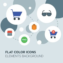 clothes, shopping flat vector icons and elements background with circle bubbles networks...Multipurpose use on websites, presentations, brochures and more..