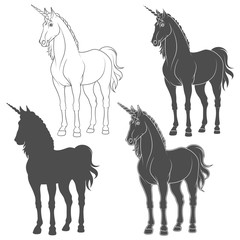 Set of black and white illustrations with a unicorn. Isolated vector objects on white background.