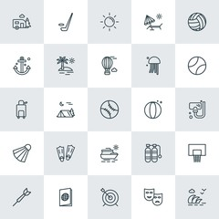 Modern Simple Set of sports, travel Vector outline Icons. ..Contains such Icons as  air,  document,  wave,  rink,  stadium,  underwater and more on white background. Fully Editable. Pixel Perfect.