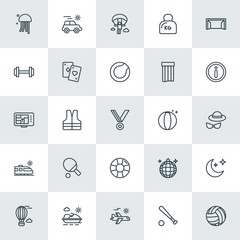 Modern Simple Set of sports, travel Vector outline Icons. ..Contains such Icons as  paragliding, life,  astronomy, balloon, water,  plane and more on white background. Fully Editable. Pixel Perfect.