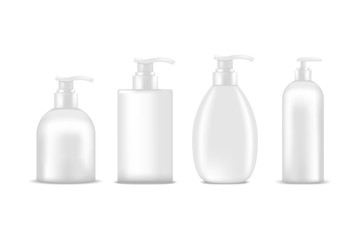 Cosmetic bottles of cream, shampoo, gel, lotion with dispenser pump. Mock up, cosmetic package