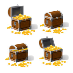 Set piratic trunk chests with gold coins treasures. . Vector illustration. Catyoon style, isolated