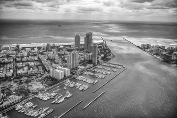 Aerial view of Miami Beach, South Pointe Park and Fisher Island