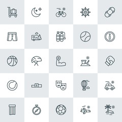 Modern Simple Set of sports, travel Vector outline Icons. ..Contains such Icons as  bicycle, compass,  vacation,  landscape,  travel,  ball and more on white background. Fully Editable. Pixel Perfect.