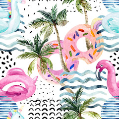 Foto auf Leinwand Grafik Druck Water color flamingo pool float, donut lilo floating on 80s 90s background.