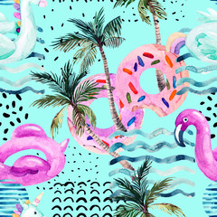 Printed roller blinds Graphic Prints Water color flamingo pool float, donut lilo floating on 80s 90s background.