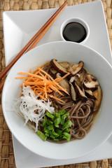 Shiitake and soba soup