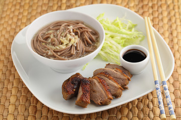 Duck breast with soba noodles