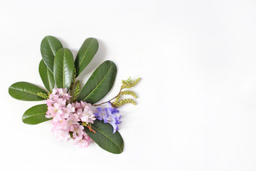Spring botanical floral composition. Dcorative corner. Pink Japanese cherry blossoms, blue scilla flowers and evergreen English laurel branch isolated on white wooden background. Styled stock photo