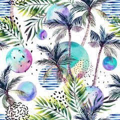 Poster de jardin Empreintes Graphiques Watercolor art illustration: palm tree, doodle, grunge textures, geometric, minimal elements.