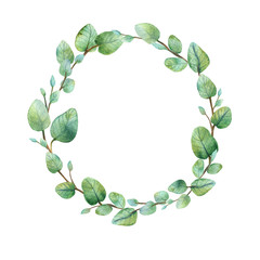 Watercolor round wreath with silver dollar eucalyptus.