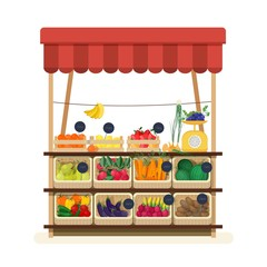 Obraz Greengrocer s shop with awning, marketplace or counter with fruits, vegetables and price tags. Place for selling food products on local farmers market. Flat cartoon colorful vector illustration. - fototapety do salonu