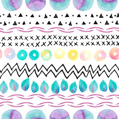 Abstract simple seamless pattern: watercolor geometric, natural elements, ink doodles