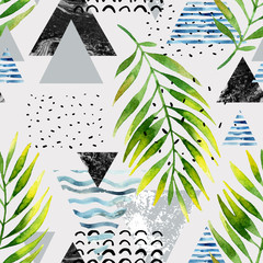 Printed roller blinds Graphic Prints Triangles with palm tree leaves, doodle, marble, grunge textures, geometric shapes in 80s, 90s minimal style.