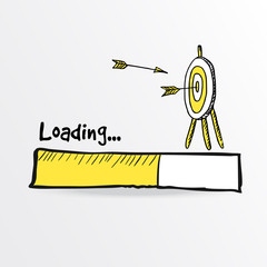Loading bar. Hand drawn flying arrows hitt in doodle archery target, goal symbol. Success concept. Vector illustration.