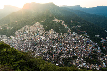 View of Rocinha, Largest Favela in Rio de Janeiro City, Located in the Valley