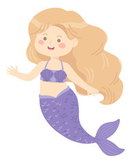 Cute Mermaid Girl purple vector illustration cartoon character design isolated on white background.
