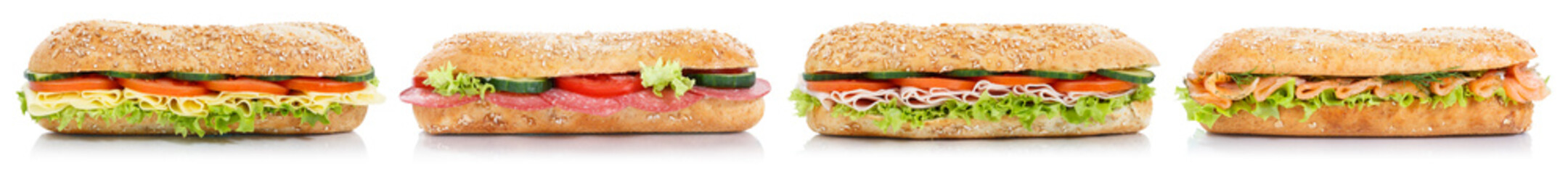 Türaufkleber Fastfood Sub sandwiches with salami ham cheese salmon fish in a row isolated on white