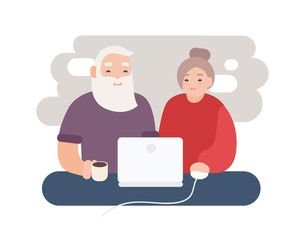 Pair of smiling elderly man and woman surfing internet together. Happy old couple watching video on laptop. Grandparents sitting at computer. Flat cartoon characters. Colorful vector illustration.