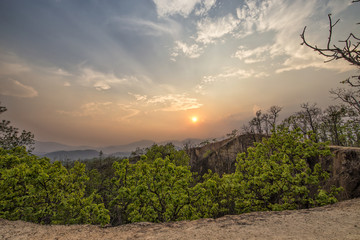 Sunset view at Pai Canyon in Thailand