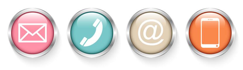 Buttons Contact Retro Silver