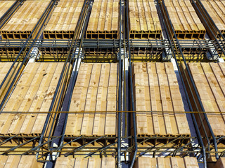 steel bars construction materials, in a construction site.