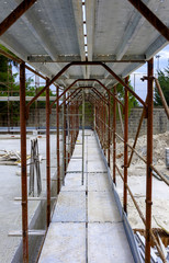 view of the metal scaffolding on a construction site