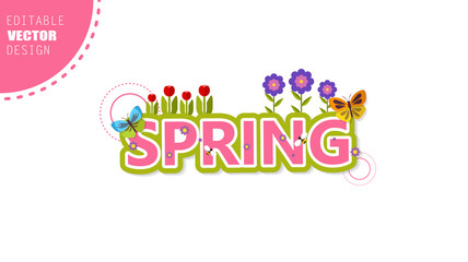 Vector Spring Lettering, with flowers in spring time
