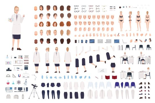 Female scientist constructor or scientific laboratory DIY kit. Collection of women body parts, facial expressions, hairstyles, clothing isolated on white background. Flat cartoon vector illustration.